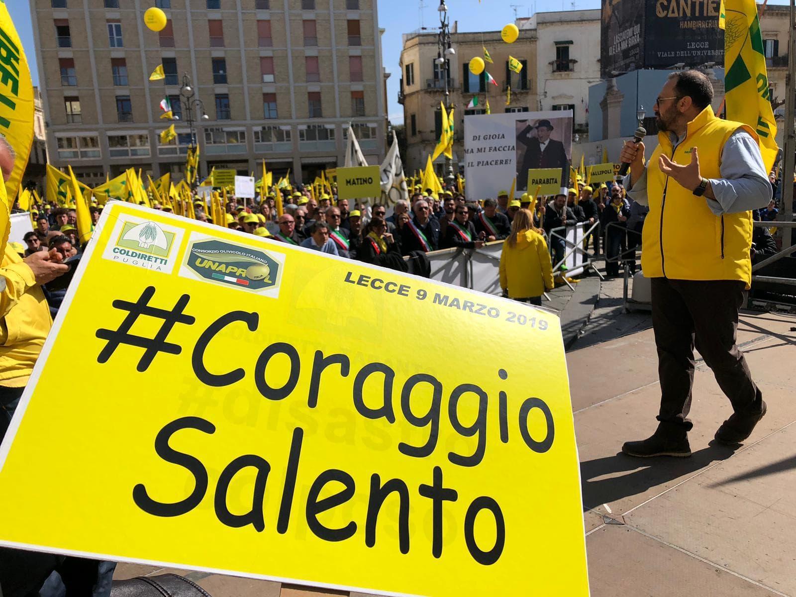 Emergenza Xylella fastidiosa: due cortei a Lecce contro una politica inconcludente. Codiretti: