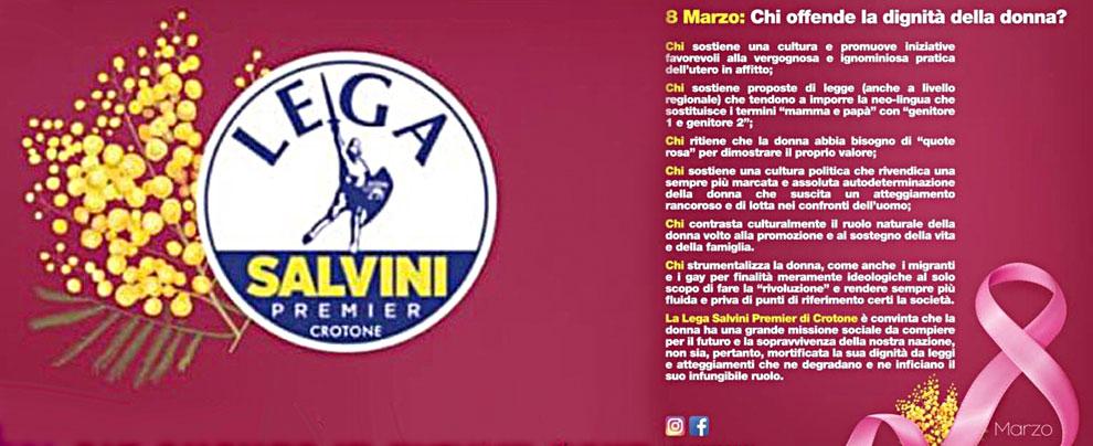 Un volantino per l'8 marzo e scatta la polemica contro la Lega Giovani Salvini di Crotone